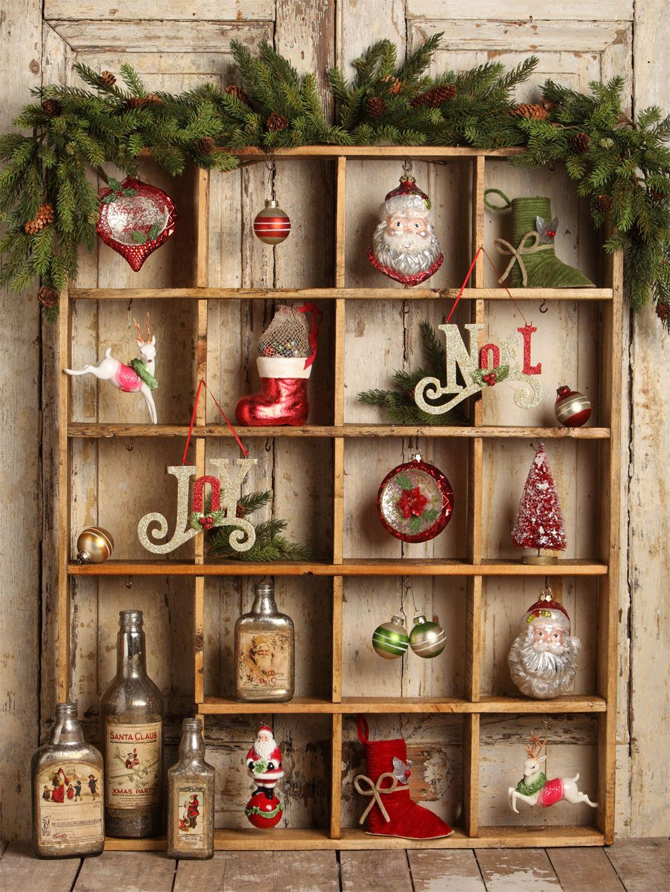 Display Your Ornaments In A Shallow Shelf With Many Small Compartments Photo From Bethany Low Diy Christmas Wall Christmas Wall Decor Diy Christmas Wall Decor