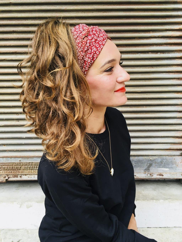 mode designer classcic produits chauds Bandeau à cheveux en coton japonais - Hanami rouge bordeaux ...