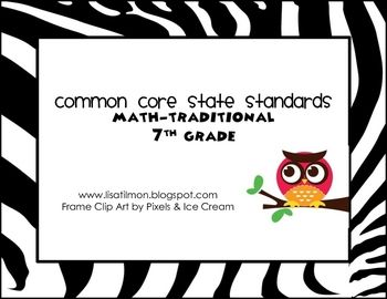 7th Grade Math Common Core Standards Poster Set... Posting