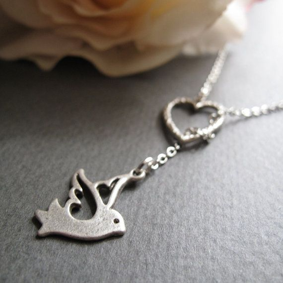 Dove Necklace Heart Lariat Silver Necklace Bird by StefenyStanyer, $21.00