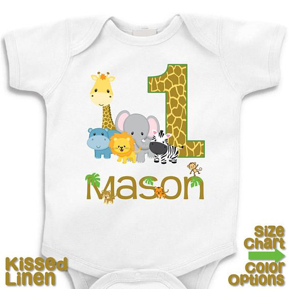 Pink Zoo Animals Safari Lion Zebra Baby 1st First Birthday: Personalized Jungle Safari Birthday Party T-shirt Bodysuit