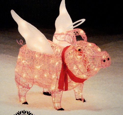3d Lighted Acrylic Christmas Pig Holiday 28 Sculpture Yard