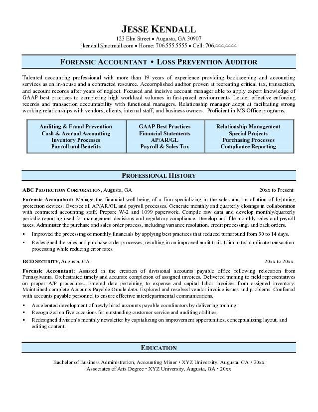Forensic Accountant Resume - http://topresume.info/2015/02/03 ...