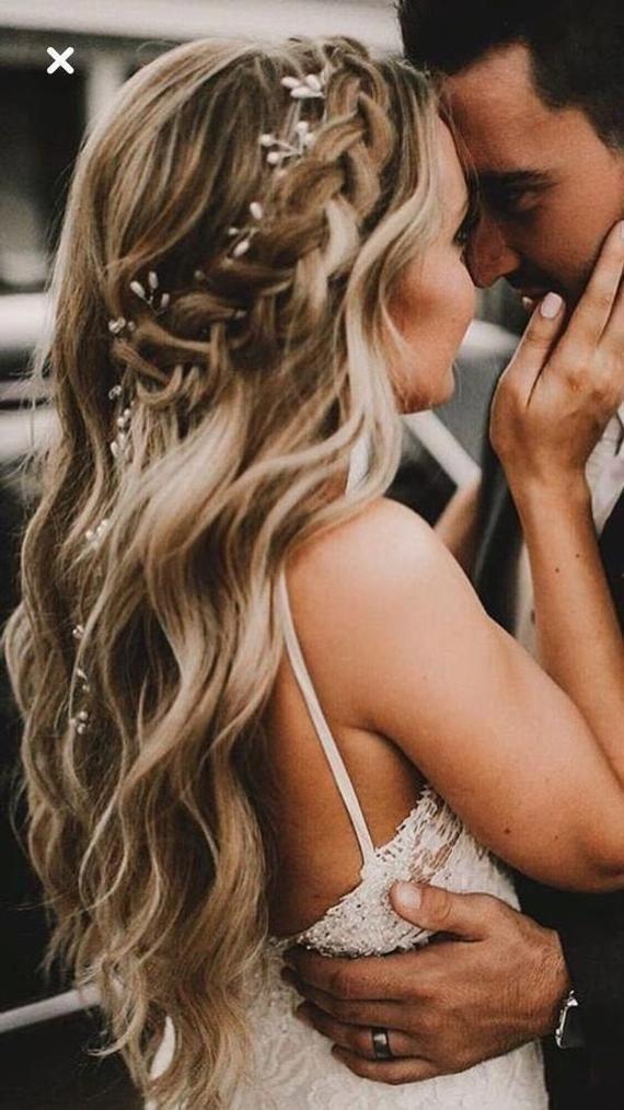 Bridal Pearl and Crystal Hair Vine White Ivory Wedding Hair Vine Headpiece Rose gold Hair piece Bridal headband Crystal tiara Long hair vine