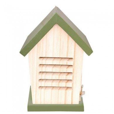 Lieveheersbeesthuisje hout/groen van Vogelhuisjestore.nl