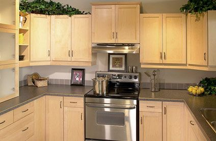 Salem Solid Maple Cabinets | Maple cabinets, Grey ... on Gray Countertops With Maple Cabinets  id=37742