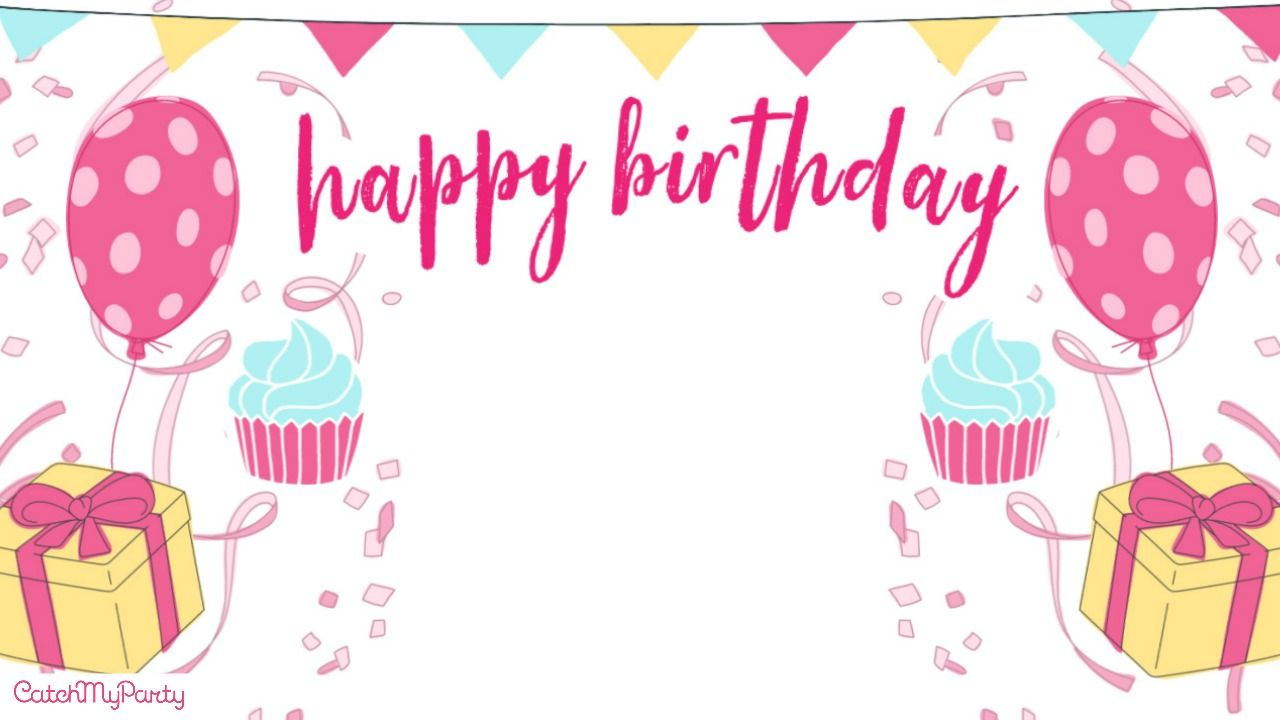 If You Don T Have A Theme For Your Daughter S Birthday But Want To Add Balloons Cupcakes And More Kids Invitation Birthday Birthday Background Bday Background