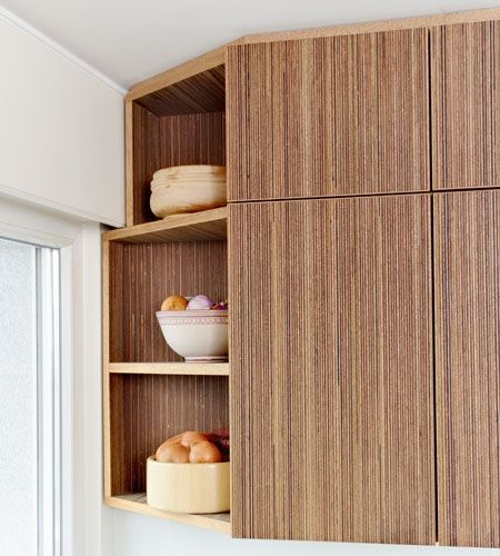 Plexwood Small Space Kitchen Corner Pantry Solution With Dark Plywood Finish  On The Cabinet Fronts /