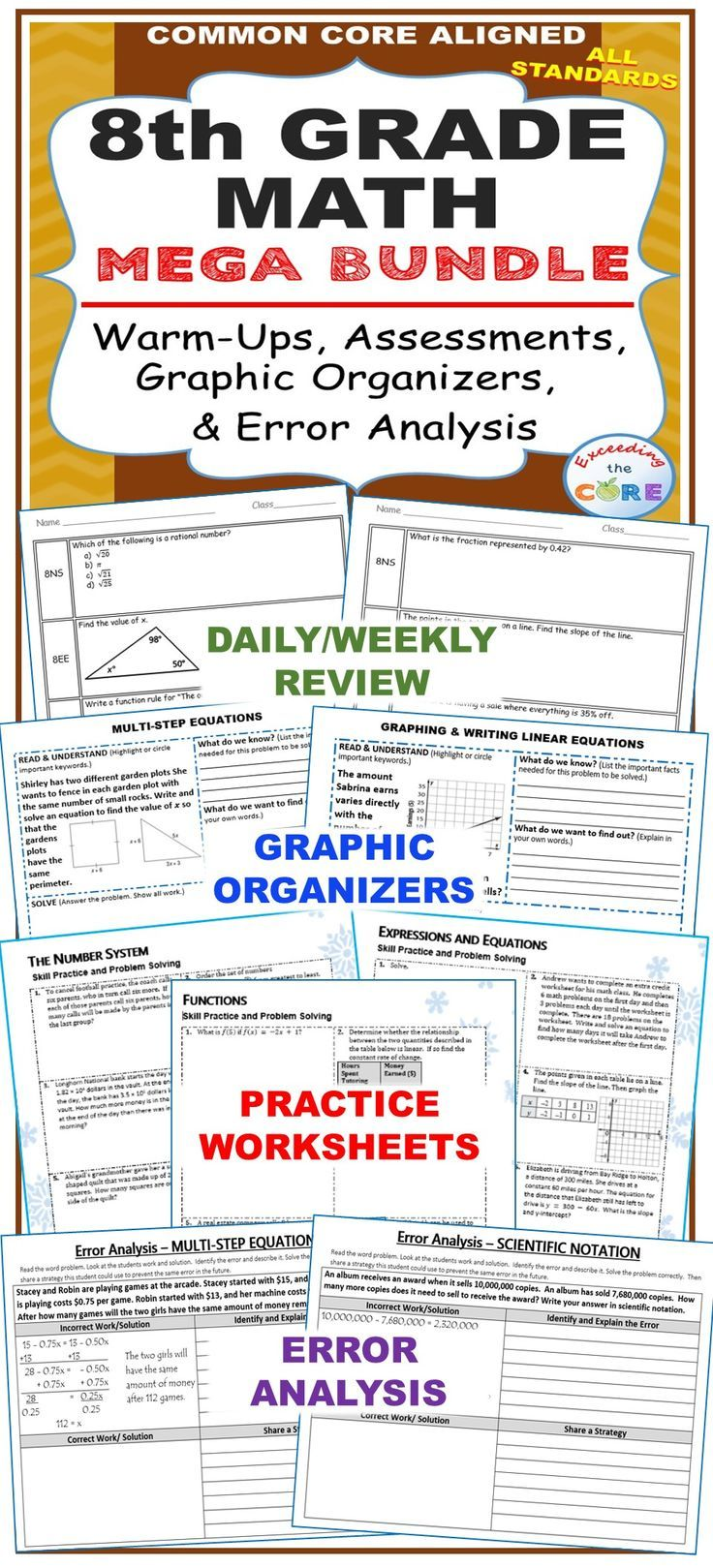 8th Grade Math Common Core Assessments Warm Ups Task Cards Worksheets 8th Grade Math Common Core Assessments Error Analysis [ 1619 x 736 Pixel ]