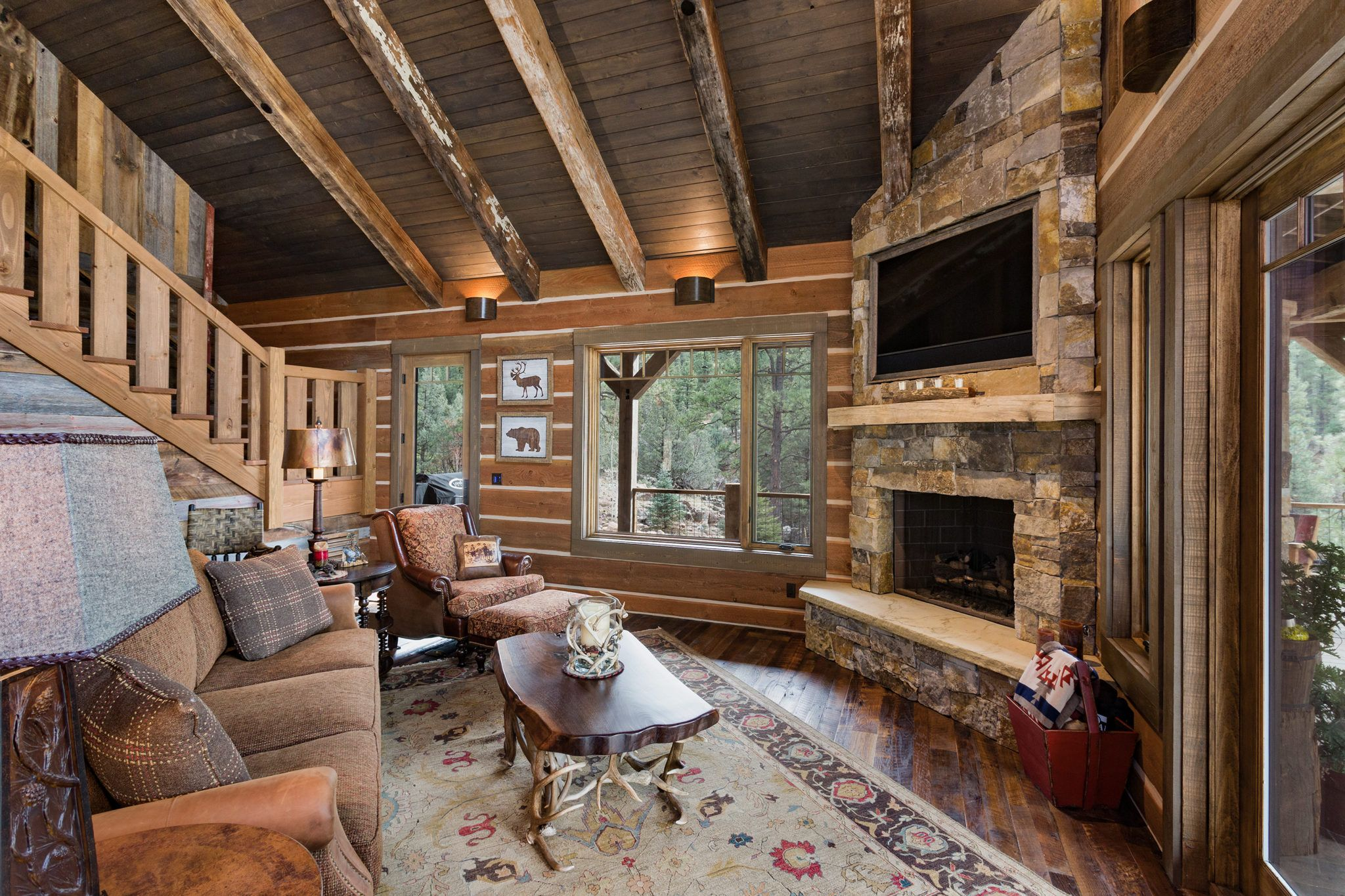 Rustic Riverside cabin living room House products