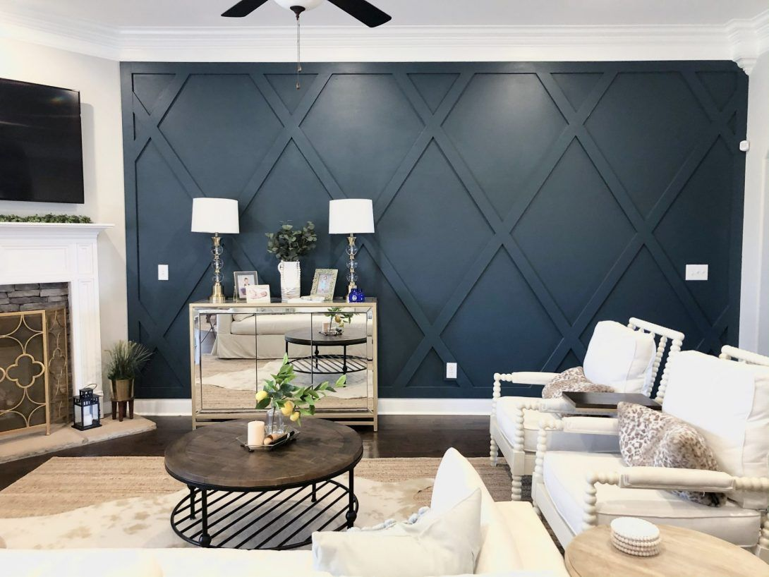 Creating A Diamond Accent Wall Whimsical September In 2020 Accent Walls In Living Room Dining Room Accent Wall Living Room Accents