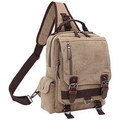 Cozy Age Mens Canvas Message Sling Bag Outdoor Cross Body
