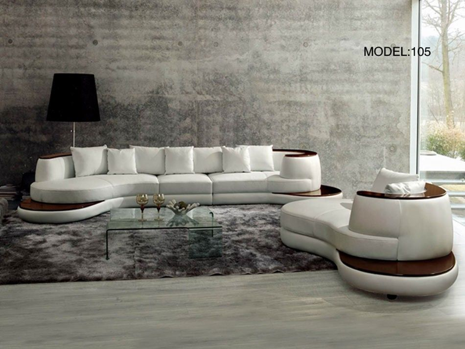 promo code 25b0d dedc8 Rodus Rounded Corner Italian Leather Sectional Sofa With ...