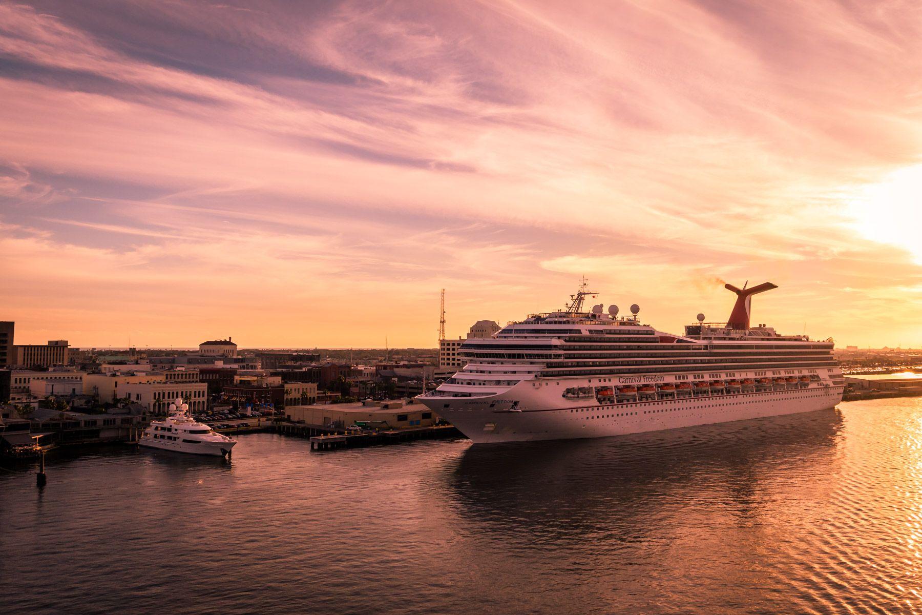 The cruise shipCarnival Freedom docked in Galveston Texas