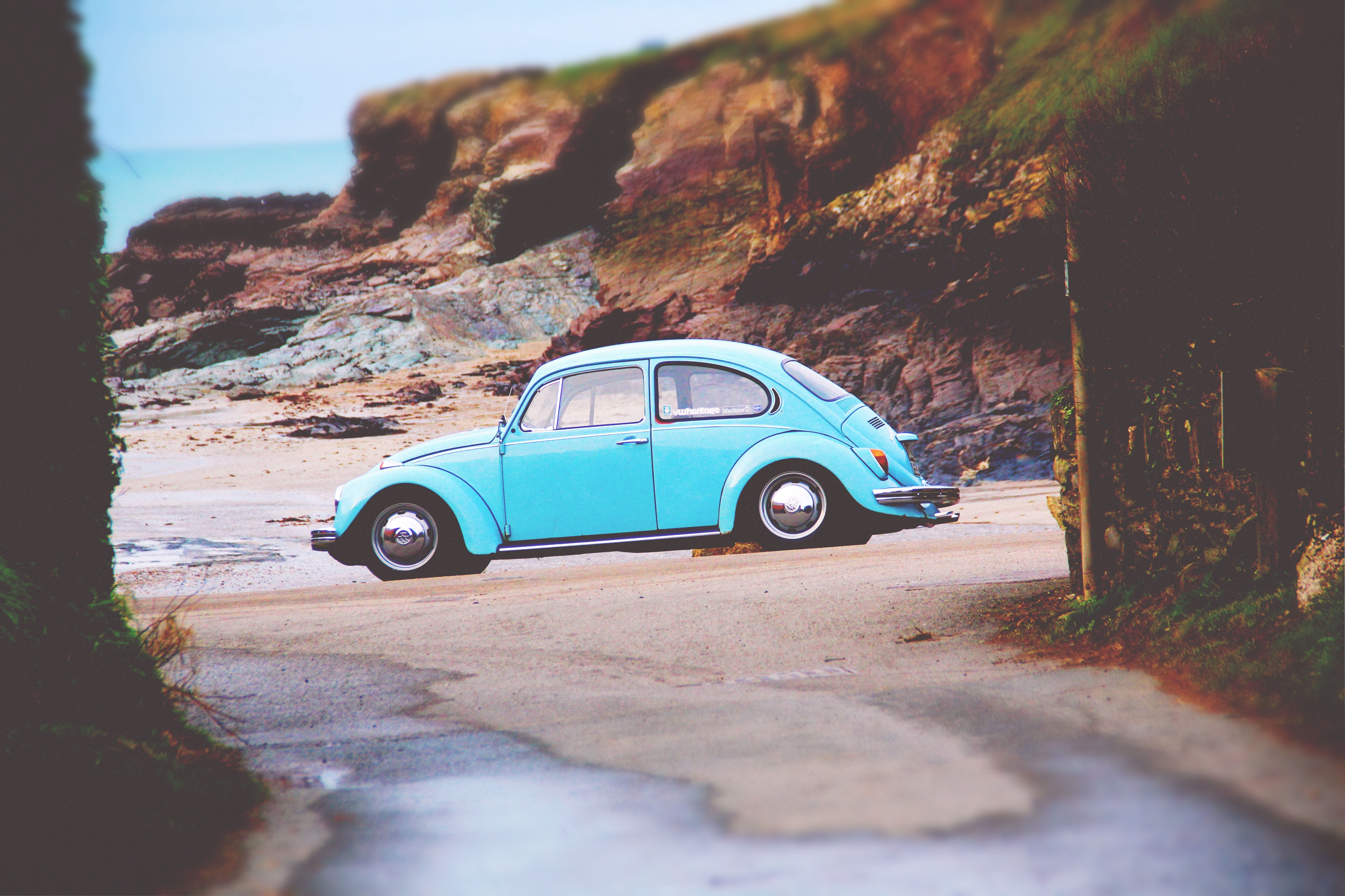 Sky Blue Volkswagen Beetle Parked Near The Beach At Padstow Car