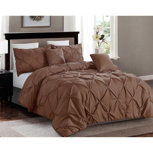 Photo of 5 piece Pintuck King Comforter set, Taupe (Machine Wash – Brown – Microfiber)