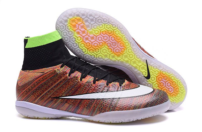 e24c6bfc13d0 2016 Nike MercurialX Proximo IC Indoor High Soccer Shoes Rainbow brown  white black www.soccercp.org