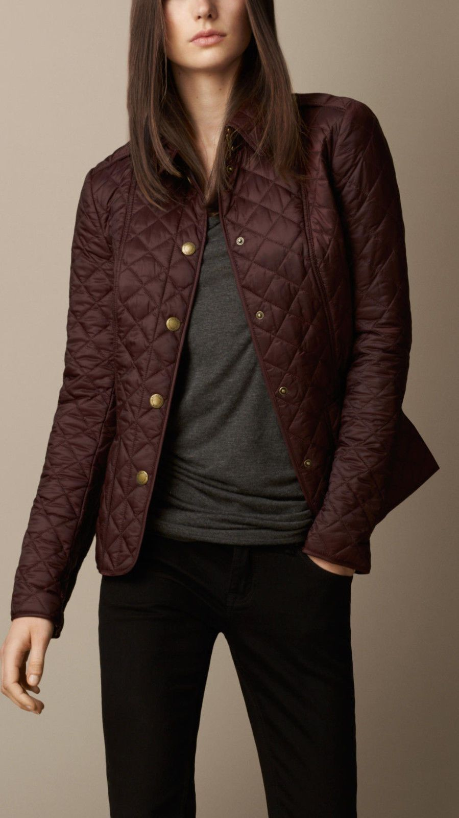 e543d7651 Burberry Brit Kencott Quilted Jacket (Deep Claret)