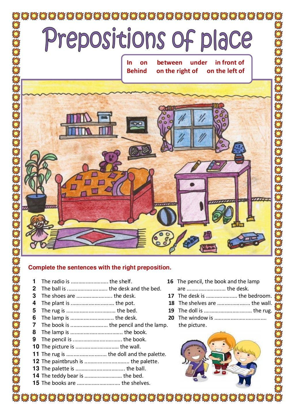 Worksheets Preposition Worksheet prepositions of place 2 by maryeugenne222 via slideshare 358 free esl worksheets