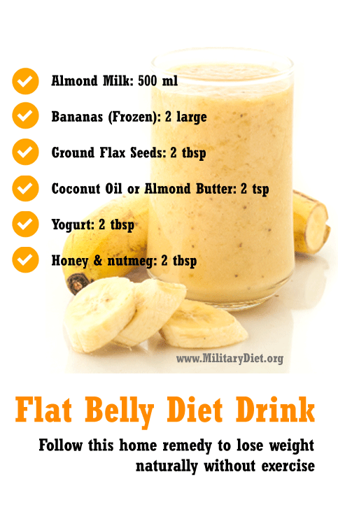 This Flat belly diet drink helps in burning belly fat naturally without any exercise. Prepare this homemade banana almond milk smoothie along with other ingredients like Flax seeds, Yogurt and Honey. All these ingredients are effective in burning fat around your belly region.  #FlatBellyDiet #WeightLoss