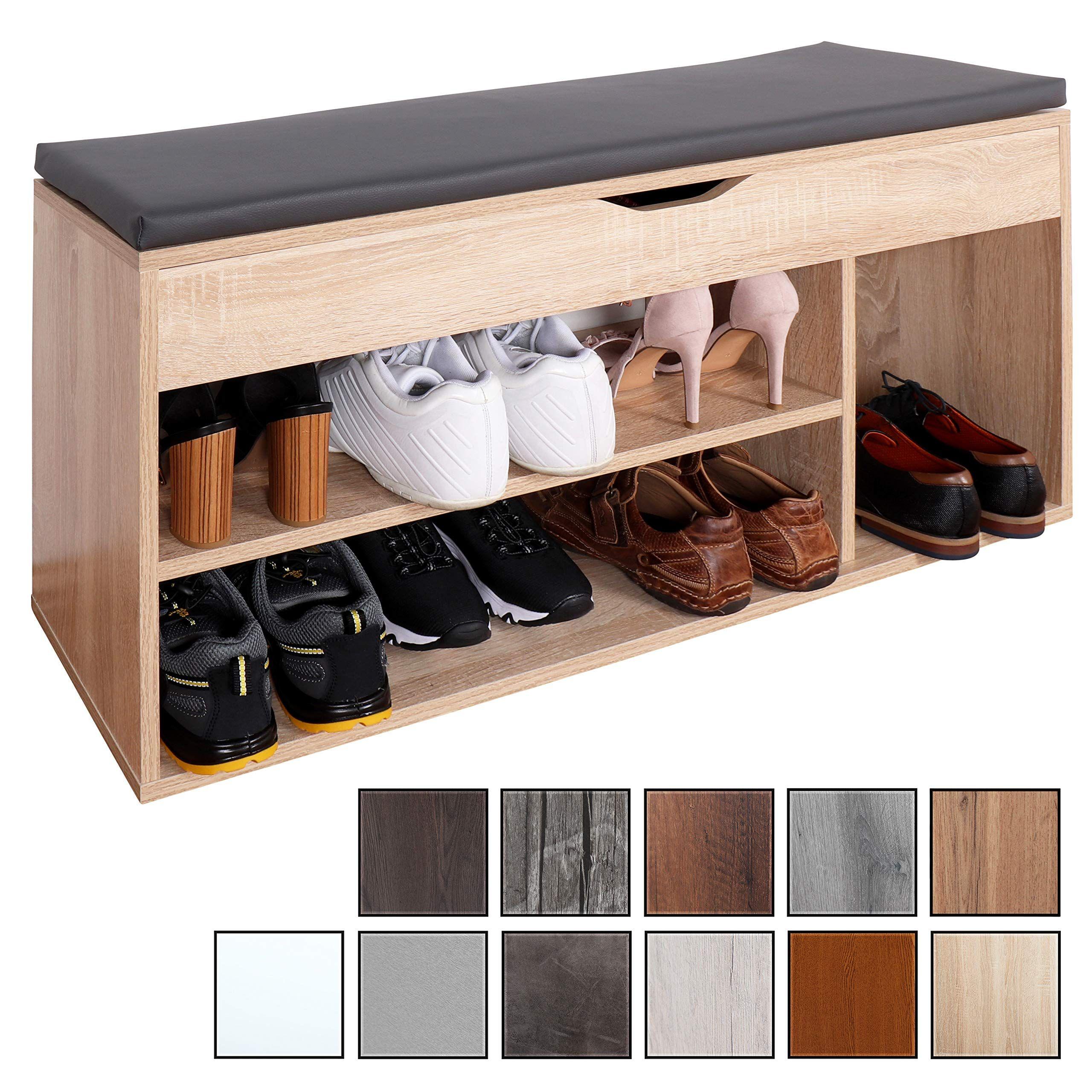 Ricoo Wm034 Es A Meuble A Chaussures 103x49x30cm Banc Coffre Rangement Commode Banquette Me Meuble Rangement Banc Coffre De Rangement Rangement Chaussures