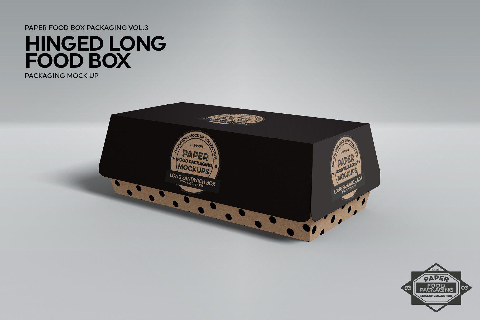 Download Hinged Long Sandwich Box Mockup Box Mockup Free Packaging Mockup Food Box Packaging