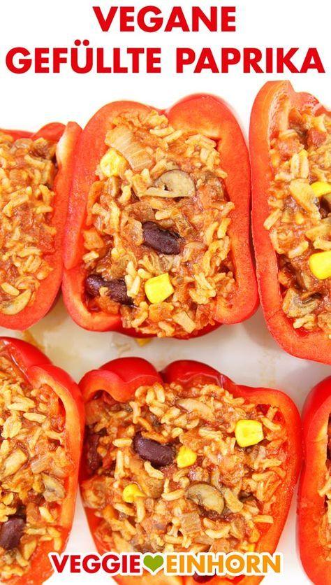 Vegane gefüllte Paprika mit Reis und Champignons #veganerezeptemittag