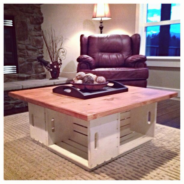 our homemade apple crate coffee table diy projects to try pinterest table basse bois et. Black Bedroom Furniture Sets. Home Design Ideas