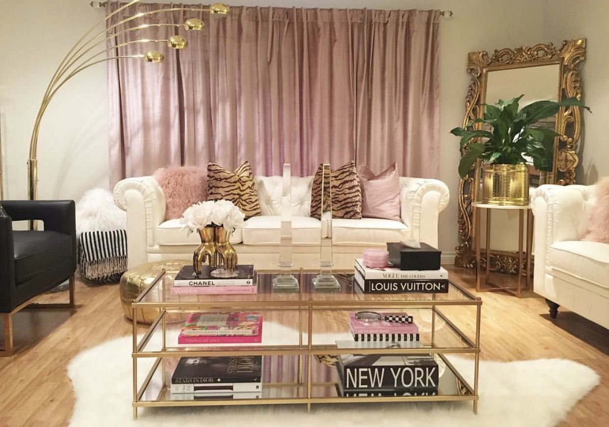 Modern Glam Black White Gold Blush Pink Living Room With Tiger Pillows West Elm Terrace Coffee T Gold Living Room Table Decor Living Room Pink Living Room
