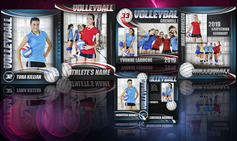 Volleyball special bundled package of Adobe© Photoshop© templates ...