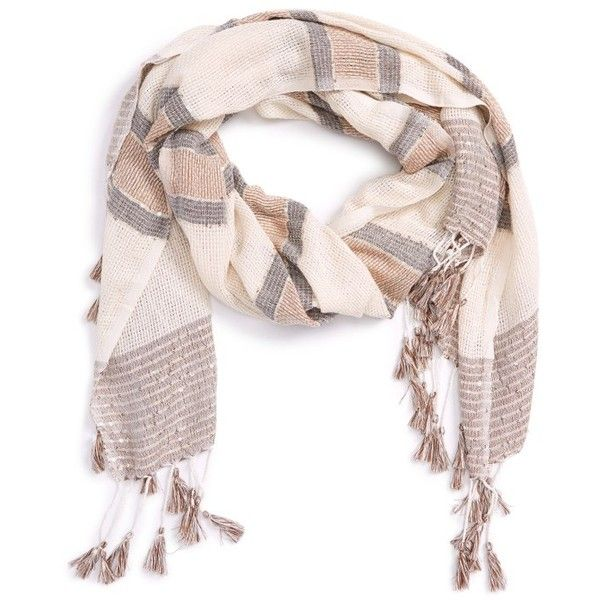 Women's Sole Society Embellished Knit Scarf (€38) ❤ liked on Polyvore featuring accessories, scarves, white natural, knit scarves, long shawl, striped scarves, knit shawl and sole society