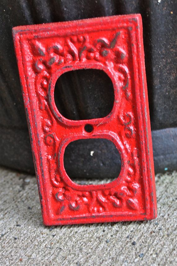 red decorative electrical outlet plate for the home. Black Bedroom Furniture Sets. Home Design Ideas