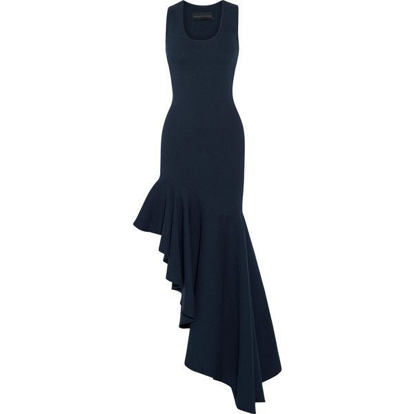Michael Lo Sordo Asymmetric ruffled stretch-knit maxi dress (1.890 RON) ❤ liked on Polyvore featuring dresses, navy blue dress, racer back dress, blue dress, asymmetrical ruffle dress and racerback maxi dresses