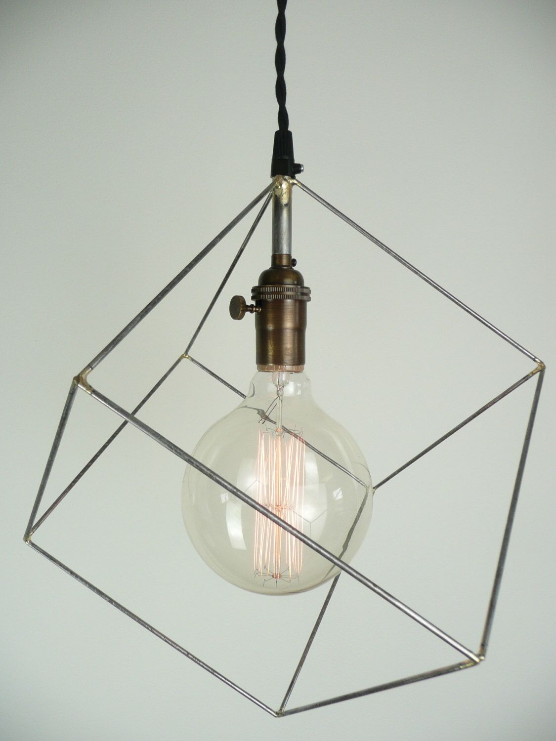 Cube pendant light, minimal pendant light, hanging square ...