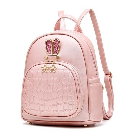 Stylish Plain Pink Embossed Faux Leather Crocodile Travel Backpack Unique  Cute Animal Rabbit Ear Girly Girls Small Preppy School Book Bag ac8e107214e9b