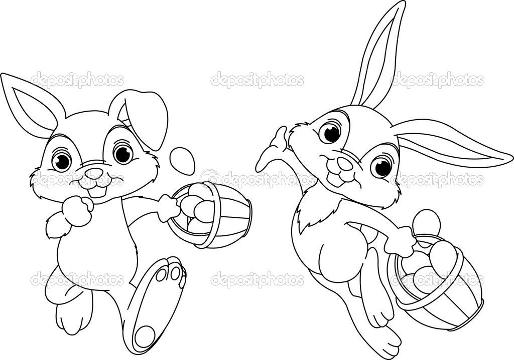 Bunny Hiding Eggs Coloring Page Bunny Painting Coloring Pages Cartoon Pencil Drawing