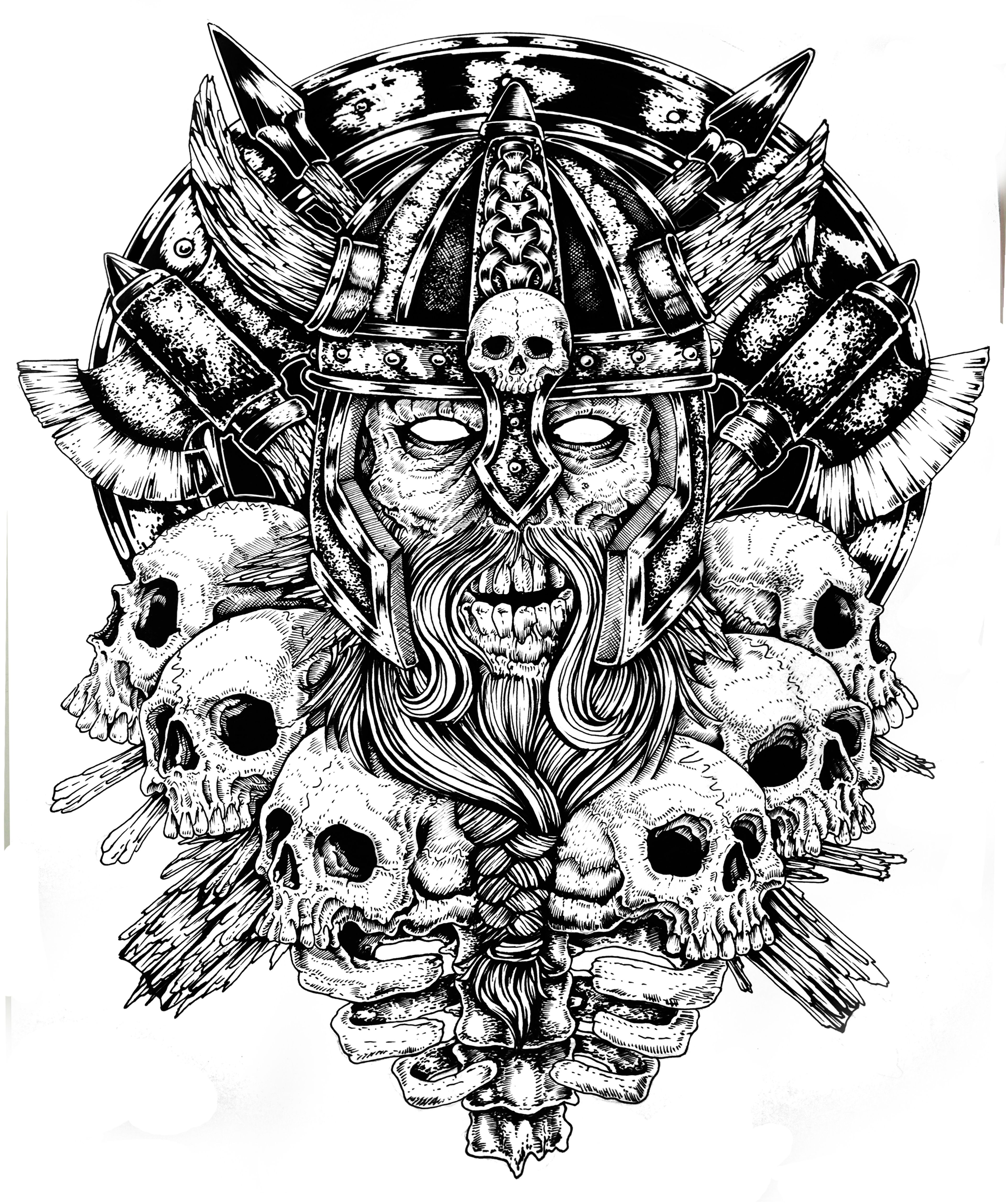 I Got Inspired With The Old Warriors Who Died In Battle Norse Tattoo Norse Mythology Tattoo Viking Skull Art