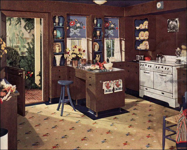 1940 Kitchen Design   Vintage Interiors   Brown And Blue Color Scheme