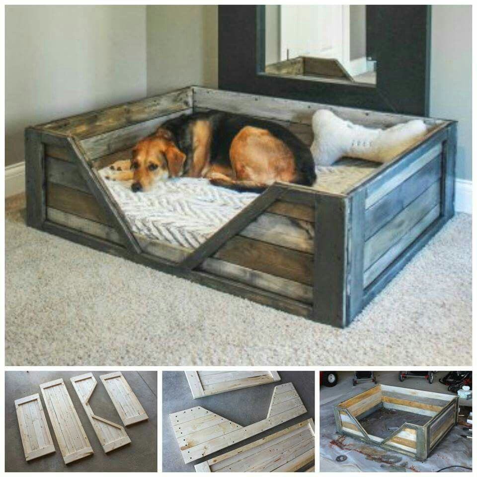 diy pallet dog bed diy pallet crafts pinterest niche chien panier chien et lits pour chiens. Black Bedroom Furniture Sets. Home Design Ideas