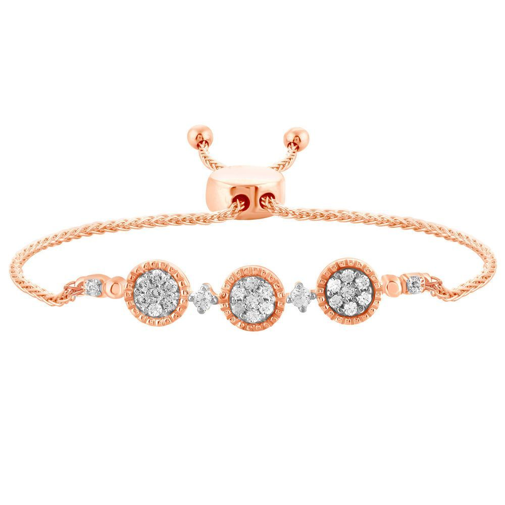 White diamond adjustable bolo bracelet womens k rose gold ct