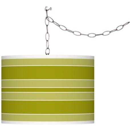 Olive Green Bold Stripe Giclee Glow Plug-In Swag Pendant -