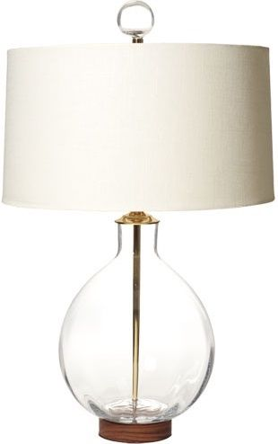 Clear Round Table Lamp Blenko Handblown Glass Table Lamp