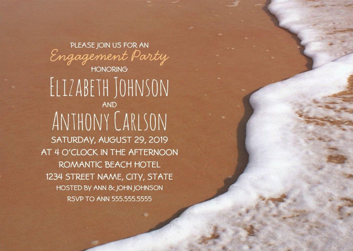 Beach Themed Engagement Party Invitation Ocean Sand Wave Foam