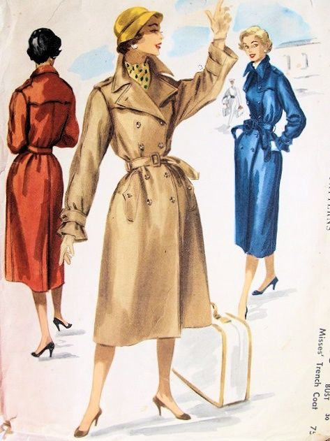 1950s Rare Trench Coat Pattern Fab Design Details Mccalls