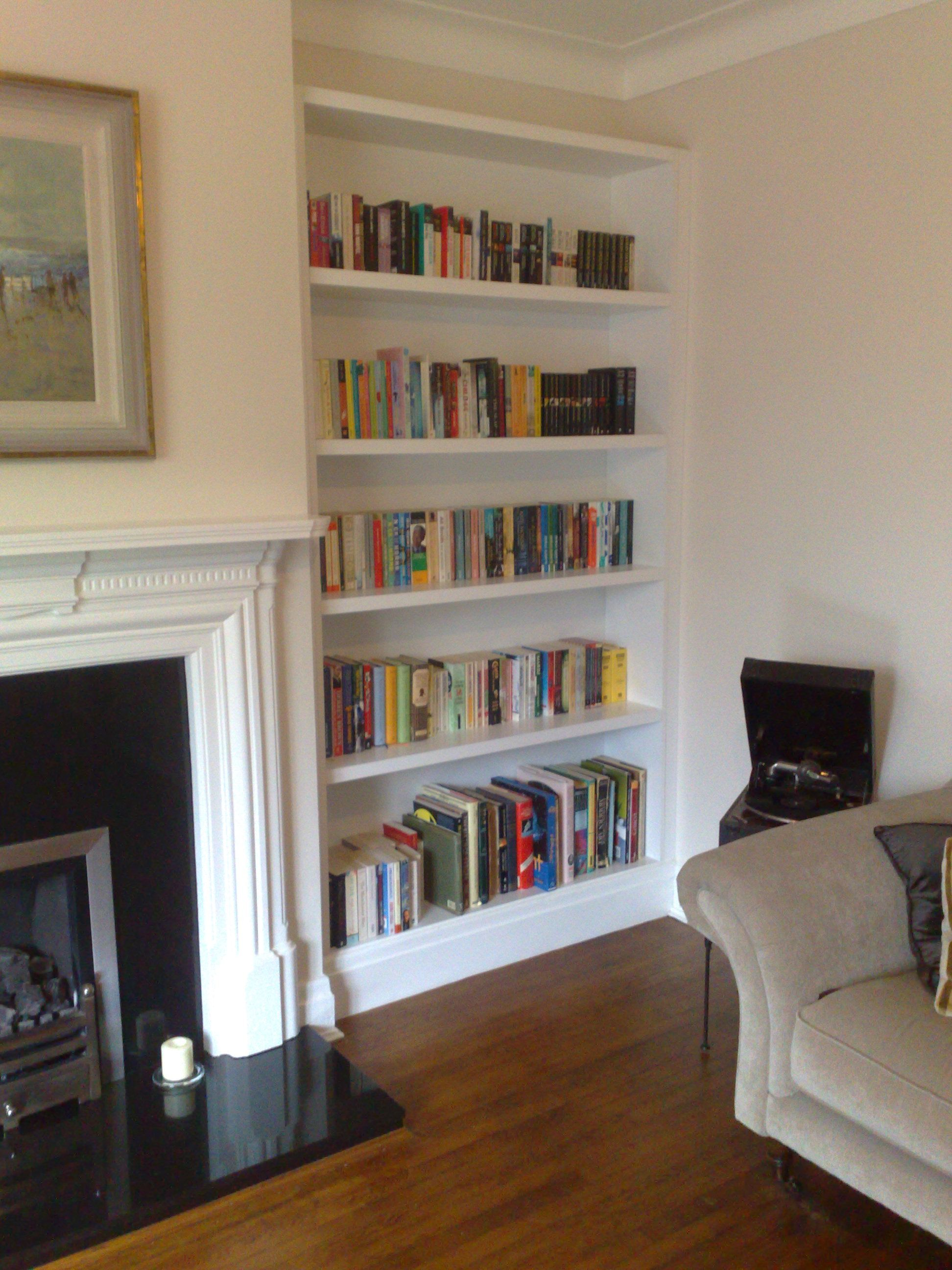 Living Room With Books: Alcove Bookshelves Of Course And A Lovely Wood Floor