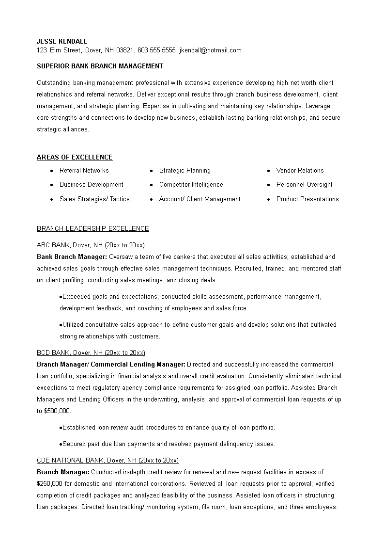 Banking Loan Resume Fair Bank Branch Manager Resume  How To Prepare A Bank Branch Manager .