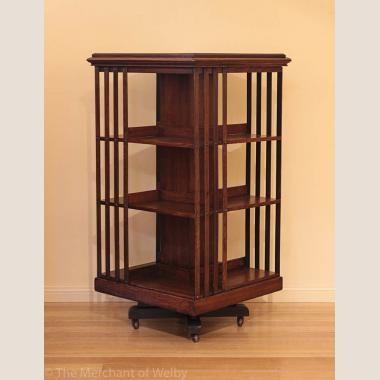 Late Victorian Edwardian Oak Revolving Bookcase