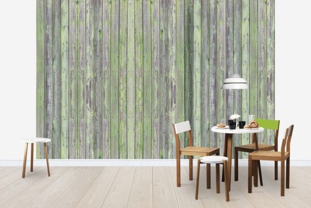 Wooden Plank - Green Grey - Fototapeter & Tapeter - Photowall