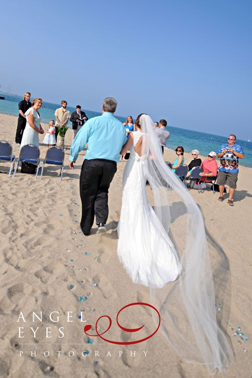 Long Veil Chicago Beach Wedding