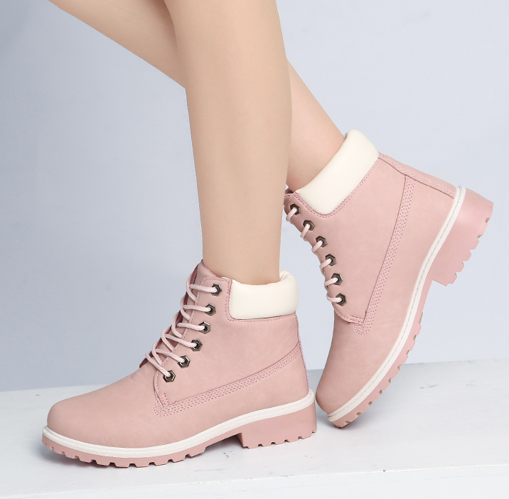 FAST SHIPPING Fall/ Winter 2016 Fashion Women Pink Lace Up Martin Boots Ankle Booties on Luulla